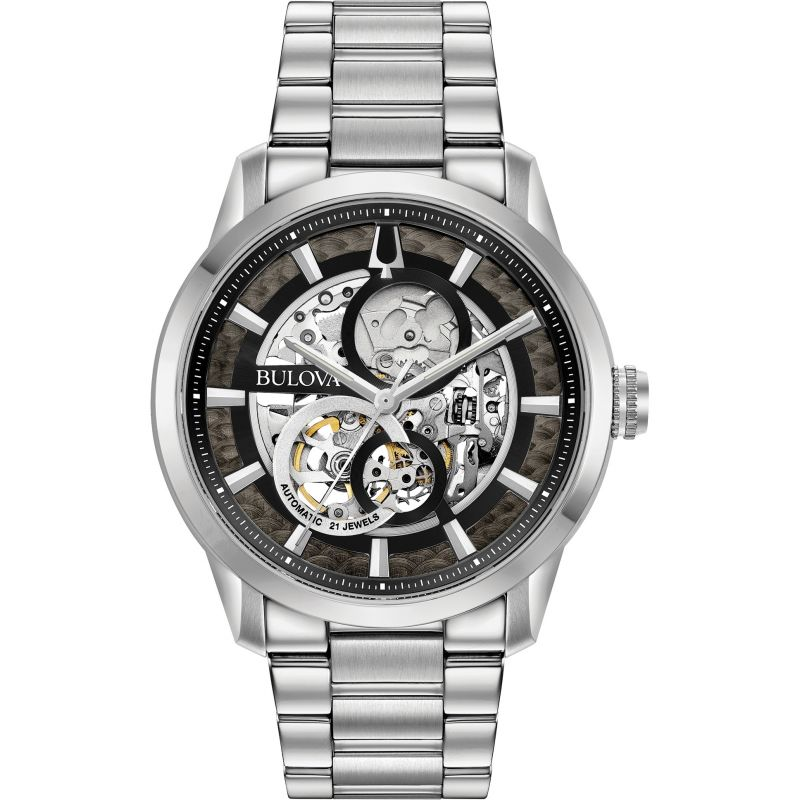 Mens Bulova Mechanical Automatic Stainless Steel Watch 96A208