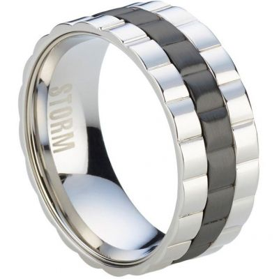 Mens STORM Stainless Steel Velo Ring Size W 9980738/BK/W