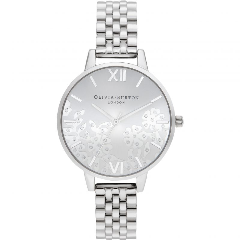 Ladies Olivia Burton Bejewelled Lace Silver Bracelet Watch OB16MV101
