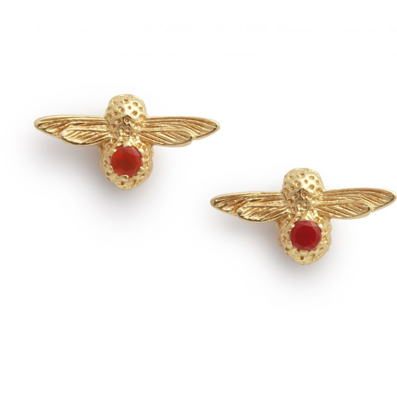 Celebration Stones Bee Studs Gold & Red Agate  Earrings OBJAME101