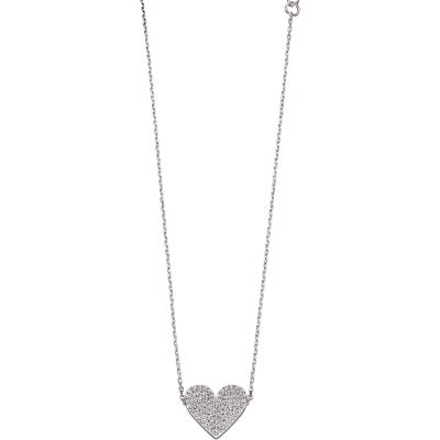 Fiorelli Silver Heart Pave Necklace N4260C