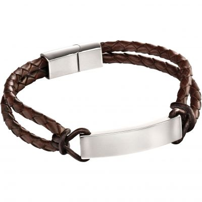 Fred Bennett Steel And Leather Id Braclet Leather B5122