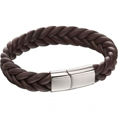 Fred Bennett French Plait Leather Bracelet Leather B5140