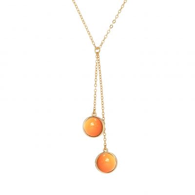 Karen Millen Dames Logo Cabochon Double Drop Necklace Basismetaal KMJ1171-30-50