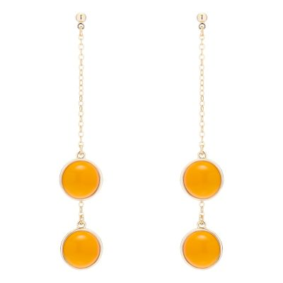 Karen Millen Dames Logo Cabochon Double Drop Earrings Basismetaal KMJ1165-30-50