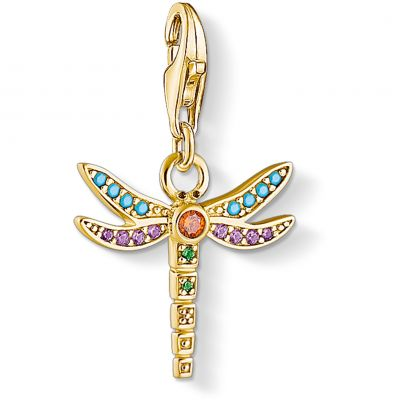 Bijoux Femme Thomas Sabo Multi-coloured Yellow Gold Dragonfly Charm 1758-974-7