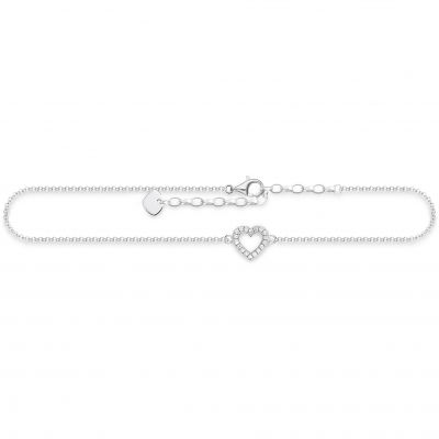 Thomas Sabo Dam Cut-out Heart Anklet Sterlingsilver AK0007-051-14-L27V