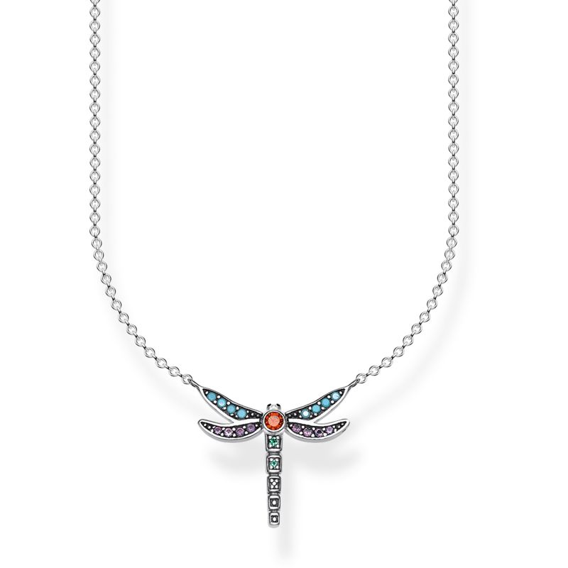 Ladies Thomas Sabo Sterling Silver Glam & Soul Paradise Colours Small Silver Dragonfly Necklace KE1837-845-7-L45V