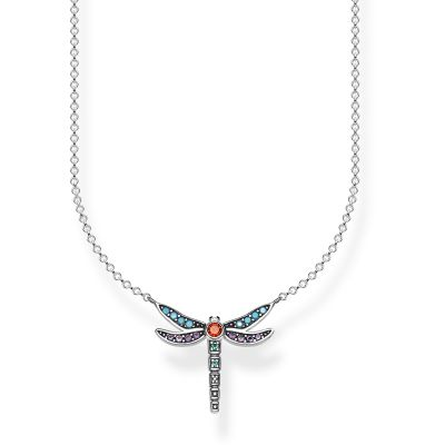 Thomas Sabo Dam Paradise Colours Small Silver Dragonfly Necklace Sterlingsilver KE1837-845-7-L45V