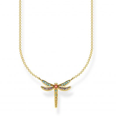 Damen Thomas Sabo Glam & Soul Zirkonia Paradise Colours Small Yellow Gold Dragonfly Halskette Sterling-Silber KE1837-974-7-L45V
