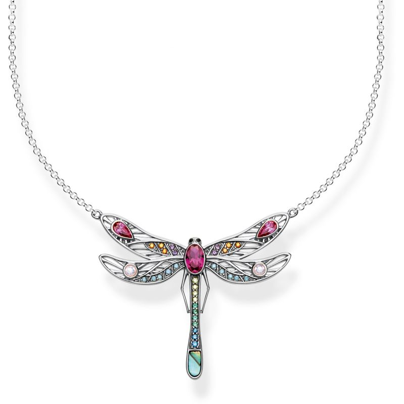 Ladies Thomas Sabo Sterling Silver Glam & Soul Paradise Colours Medium Silver Dragonfly Necklace KE1838-998-7-L45V