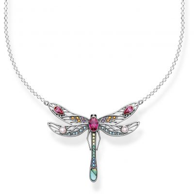 Thomas Sabo Dam Paradise Colours Medium Silver Dragonfly Necklace Sterlingsilver KE1838-998-7-L45V