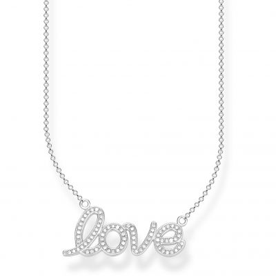 Thomas Sabo Dam Love Anchor Silver 'Love' Zirconia Necklace Sterlingsilver KE1848-051-14-L45V