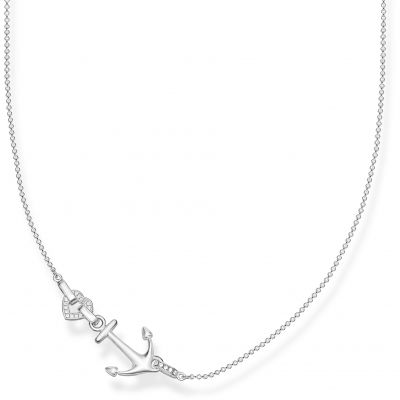 Damen Thomas Sabo Glam & Soul Zirkonia Love Anchor Silver Anchor and Heart Halskette Sterling-Silber KE1851-051-14-L45V