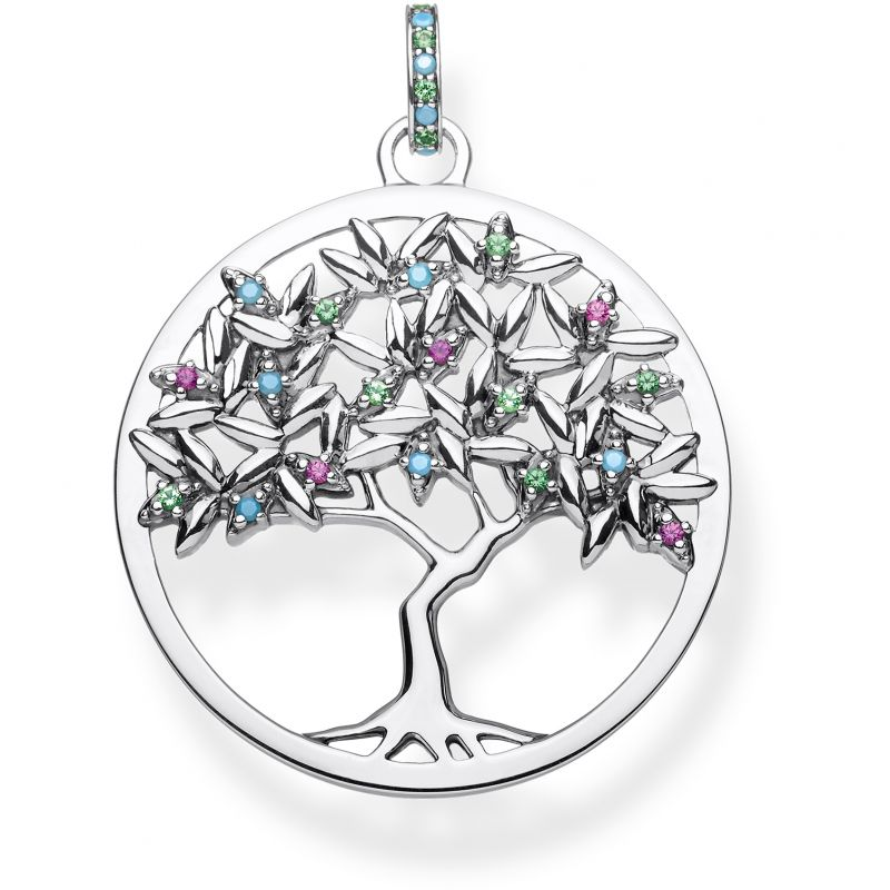 Ladies Thomas Sabo Sterling Silver Glam & Soul Paradise Colours Tree of Love Pendant PE826-348-7