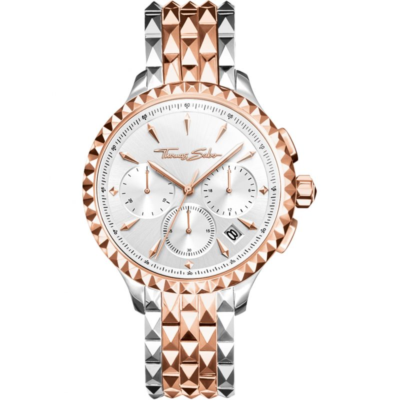 Ladies Thomas Sabo Rebel At Heart Chronograph Watch WA0347-277-201-38MM