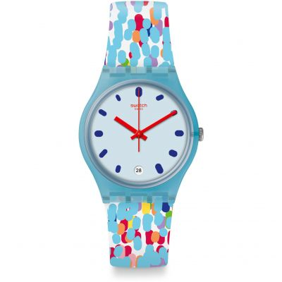 Swatch Original Gent Listen To Me Prikket Unisexuhr in Blau GS401