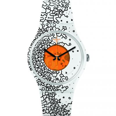 Swatch Listen To Me Listen To Me Orange Pusher Unisexuhr in Zweifarbig SUOW167