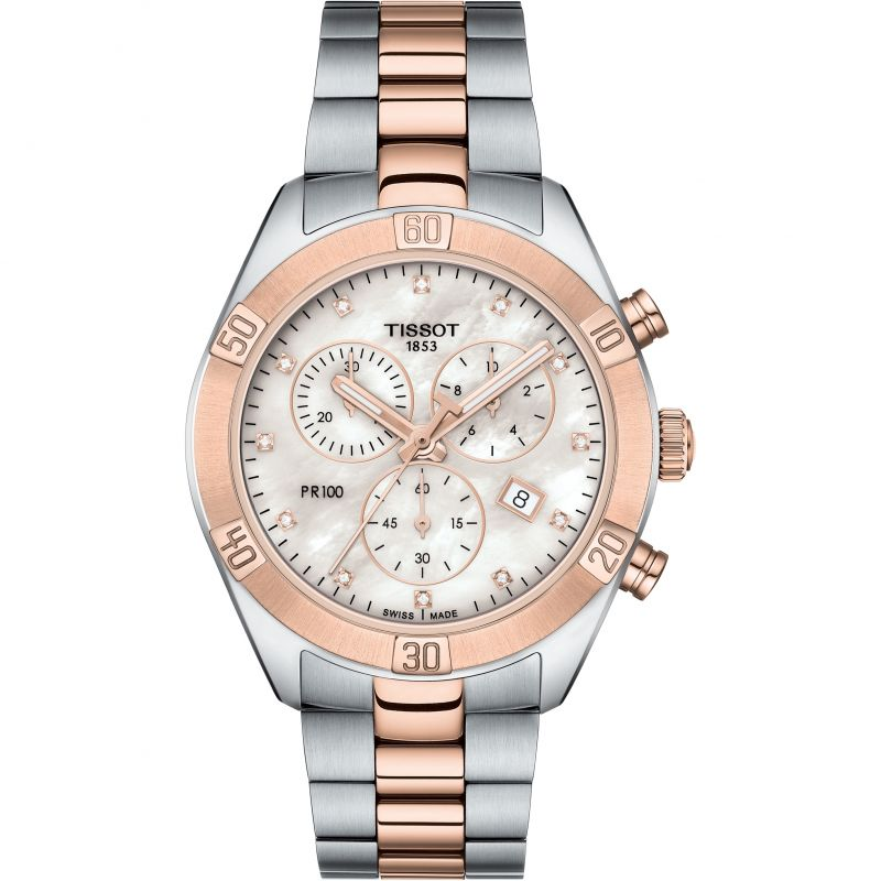 Ladies Tissot PR100 Diamond Chronograph Watch