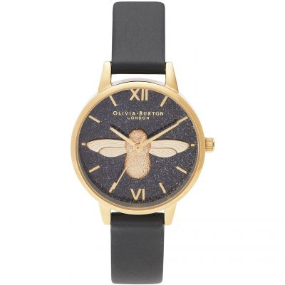 Olivia Burton 3D Bee Eco Black & Gold Damklocka OB16GD48