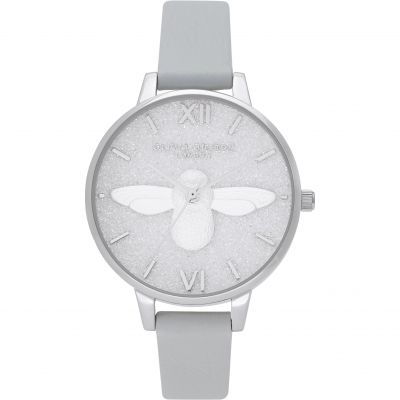 Olivia Burton 3D Bee Eco Light Grey & Silver Damklocka OB16GD52
