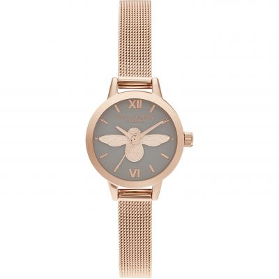 Ladies Olivia Burton 3D Bee Grey Dial & Rose Gold Mesh Watch OB16MC54