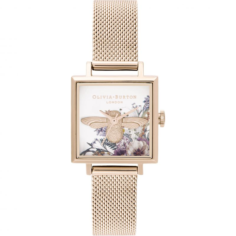 Ladies Olivia Burton 3D Bee Square Dial & Pale Rose Gold Mesh Watch OB16EG152