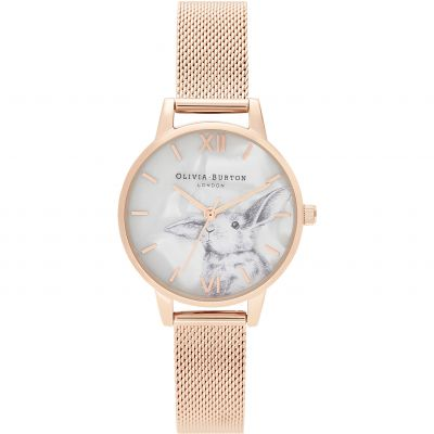 Olivia Burton Faux Mother Of Pearl Dial & Rose Gold Mesh Damklocka OB16WL85