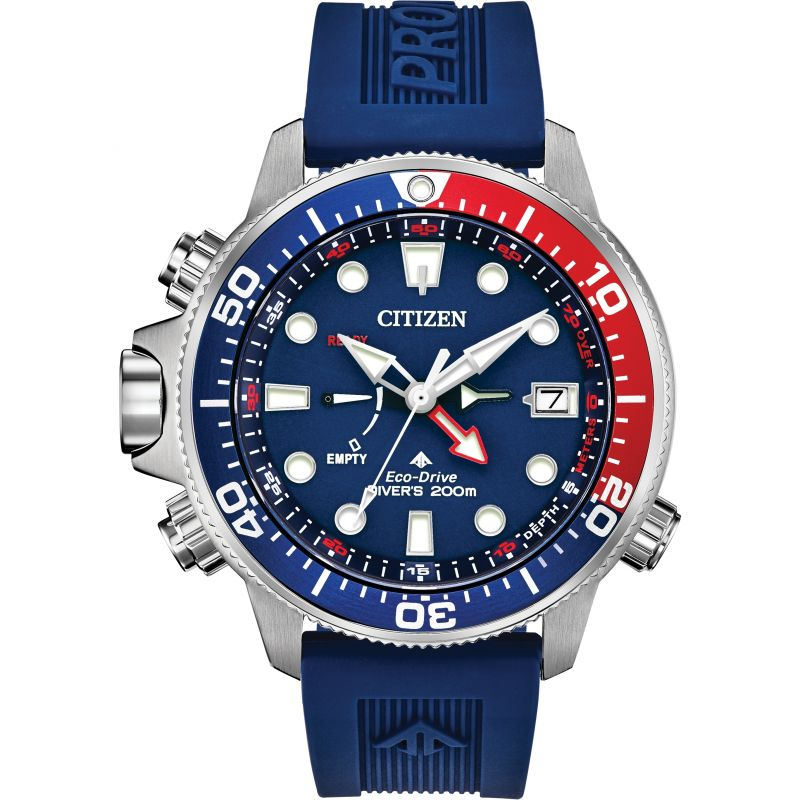 Mens Citizen Eco-drive Promaster Aqualand Diver Alarm Stainless Steel Watch BN2038-01L