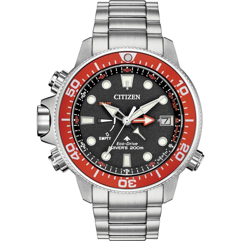 Mens Citizen Eco-drive Promaster Aqualand Diver Alarm Stainless Steel Watch BN2039-59E