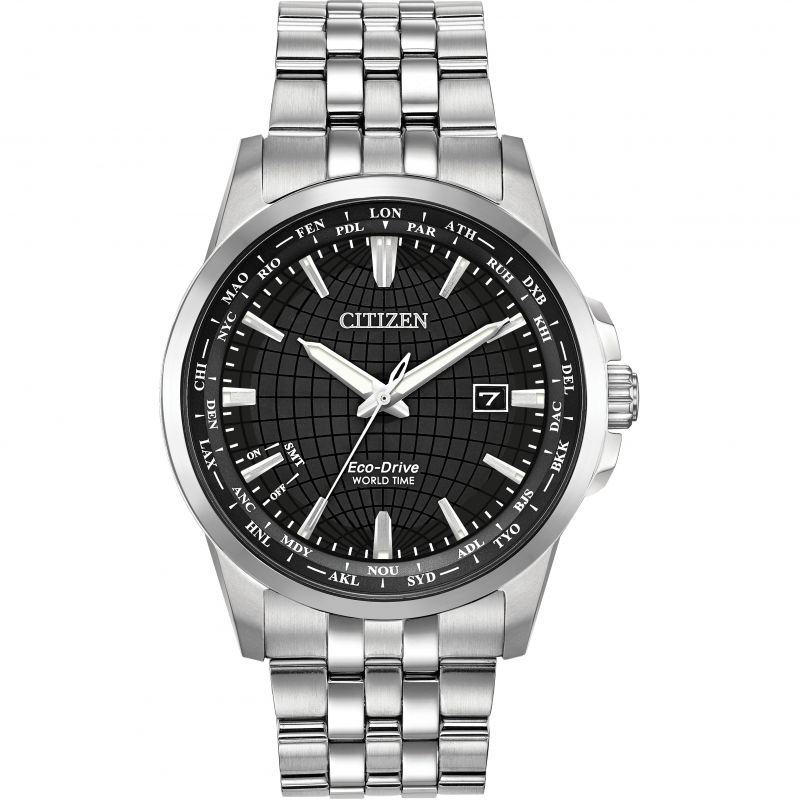 Mens Citizen Eco-drive World Time Stainless Steel Watch BX1000-57E