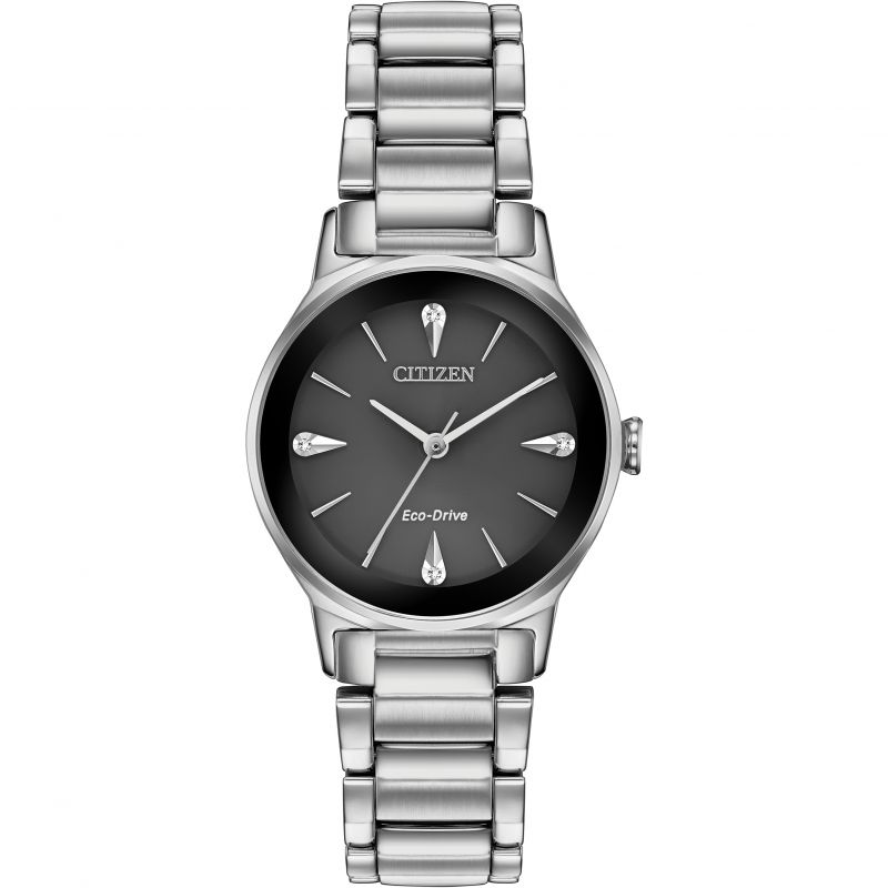 Ladies Citizen Eco-drive Ladies' Axiom Diamond Stainless Steel Watch EM0730-57E