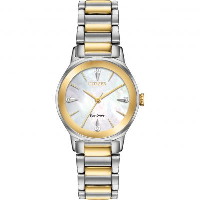 Ladies Citizen Eco-drive Ladies' Axiom Diamond Stainless Steel Watch EM0734-56D