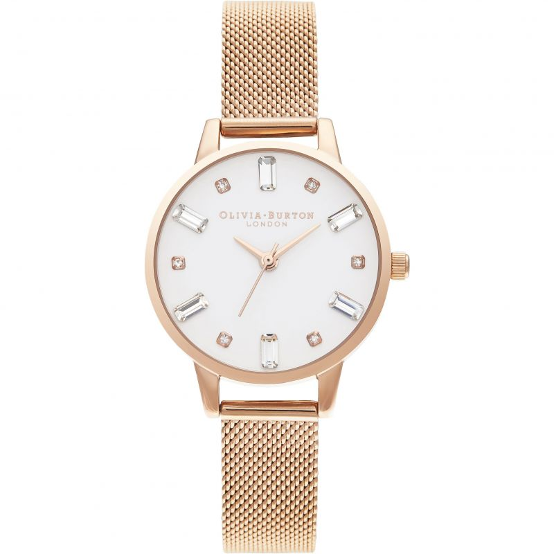 Olivia Burton Rose Gold Mesh Bejewelled  Watch OB16BJ02