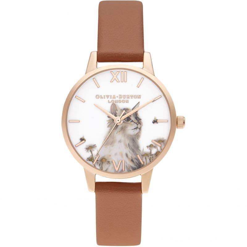 Olivia Burton Vegan Honey Tan & Rose Gold Illustrated Animals Watch OB16WL87