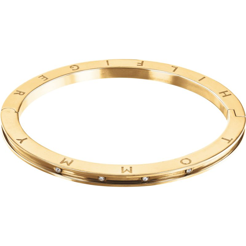 Tommy Hilfiger Stainless Steel Thin Hinge Bangle with Logo 2780203