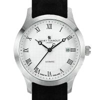 Smart Turnout Shackleton Automatic Watch With a Black Leather Strap