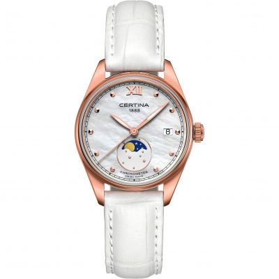 Certina DS-8 Moonphase Lady Herrklocka Vit C0332573611800
