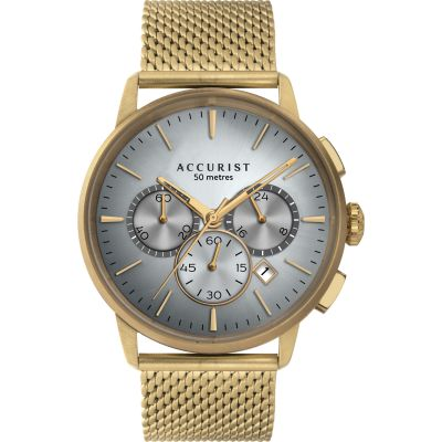 Accurist Accurist Mens Chronograph Mesh Bracelet Herenchronograaf Goud 7316