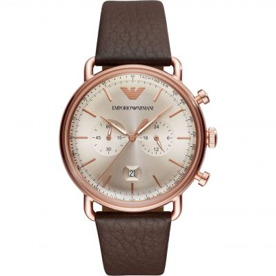 Emporio Armani Dress Aviator Herrenuhr in Braun AR11106