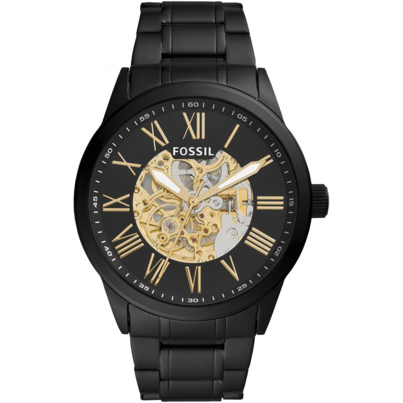 Fossil Flynn Automatic Watch Black & Gold BQ2092
