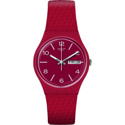 Swatch Original Gent Lazered Unisexuhr in Rot GR710