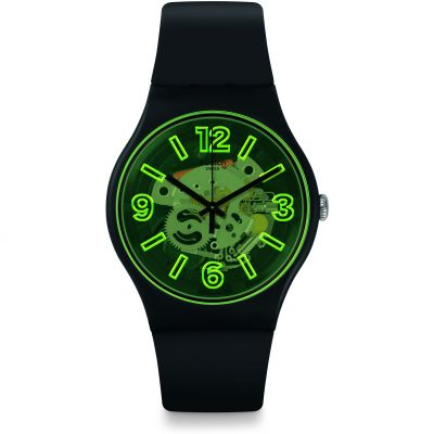 Swatch Bau Swatch Yellowboost Herrenuhr in Schwarz SUOB166
