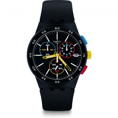 Swatch Bau Swatch Black-One Herrenuhr in Schwarz SUSB416