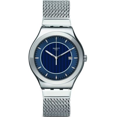Swatch FW19 Irony Blue Icone Herrenuhr in Silber YWS449MA