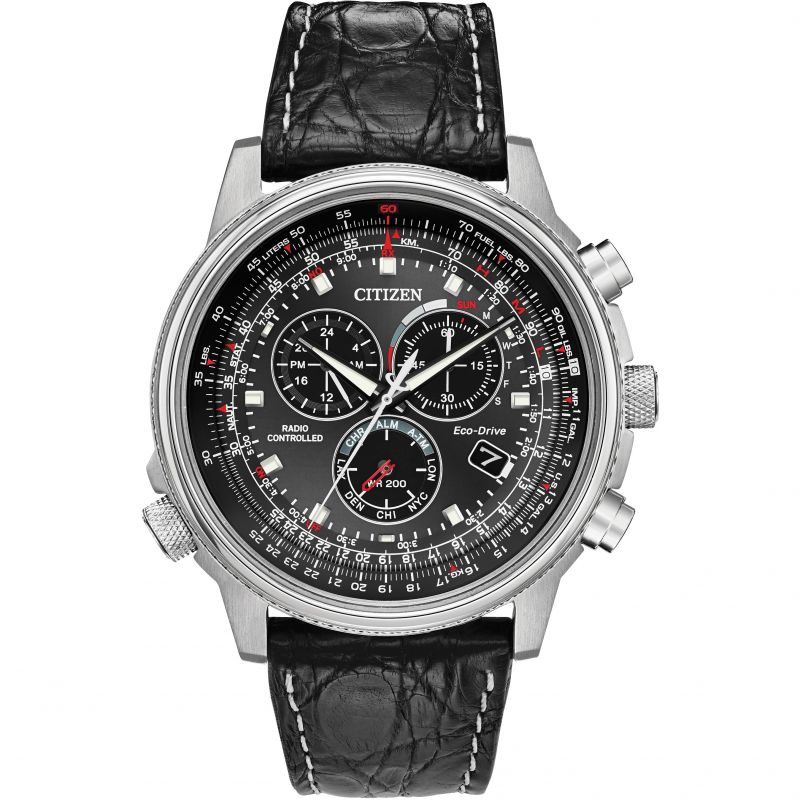 Gents Citizen Eco-Drive Chronograph Stainless Steel Watch AT4111-01E