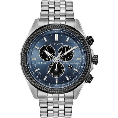 Mens Citizen Eco-drive Gents Eco-Drive Perpetual Calendar Alarm Chronograph Stainless Steel Watch BL5568-54L