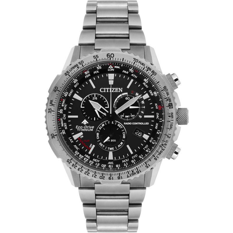 Mens Citizen Titanium Alarm Chronograph Radio Controlled Watch
