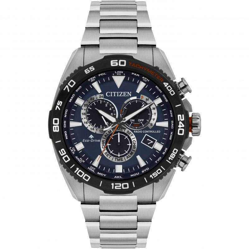 Mens Citizen Eco-drive  Radio Controlled Alarm Chronograph Stainless Steel Watch CB5034-58L