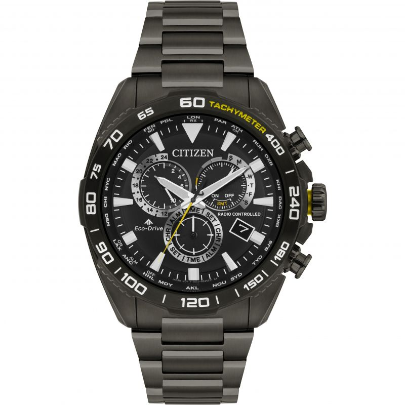 Mens Citizen Eco-drive  Radio Controlled Alarm Chronograph Stainless Steel Watch CB5037-50E